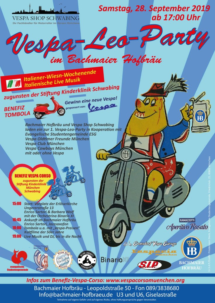 PLAKAT  Vespa Leo Party am 28.09.2019 (Variante HBH) 5.09.